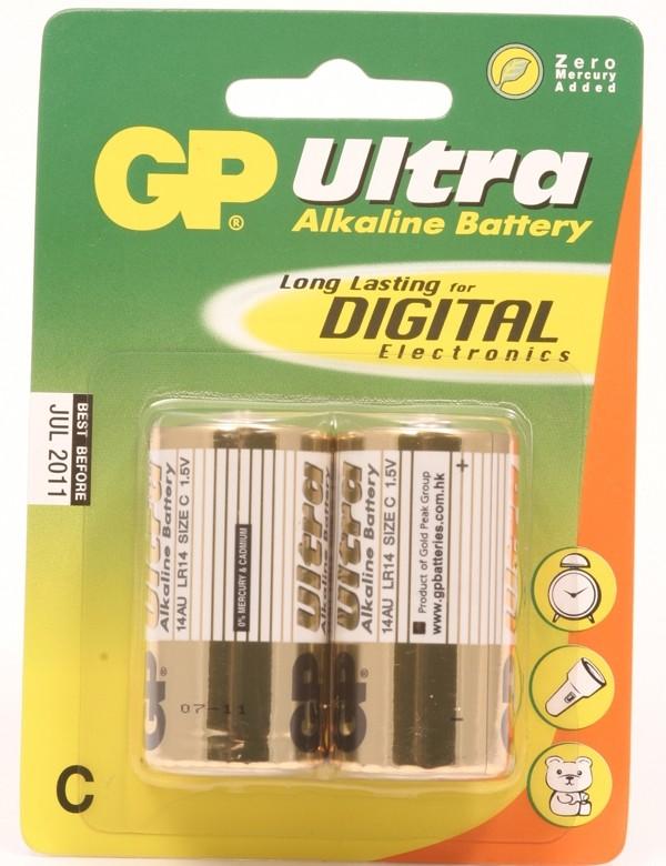 GP Ultra Alkaline LR14 (C Baby) kleine staaf, blister 2 (14A
