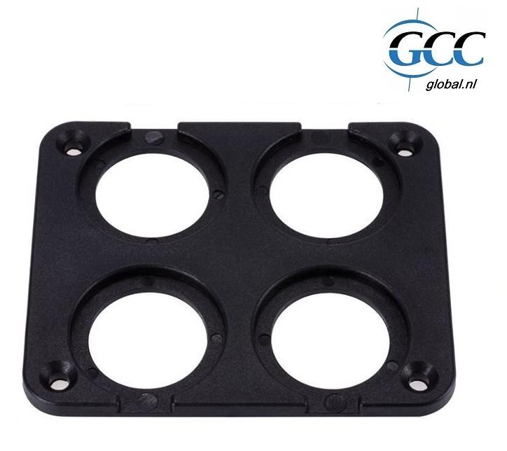 montageplaat 4 gaten vierkant voor ronde plug front mount