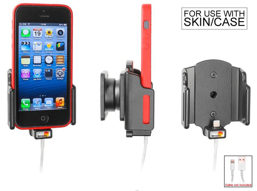 Brodit houder verstelb.59-63/6-10 iPhone SE/5S lightn.->USB