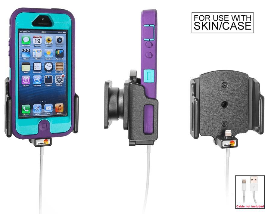 Brodit houder verstelb.62-77/9-13 iPhone SE/5S lightn.->USB