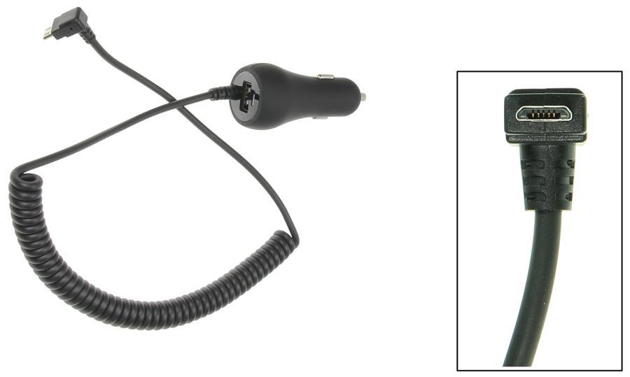 Autolader 2A Micro USB Haaks/90°- met USB 1A-12/24V
